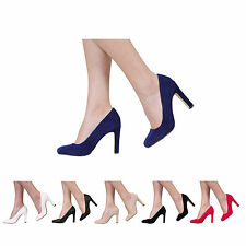 WOMENS LADIES CHUNKY BLOCK HIGH HEEL PARTY SMART WORK COURT SHOES SIZE 3-8