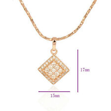 Fashion 9K Rose Gold Filled crystal Crystals & Red Ruby Asscher Pendant