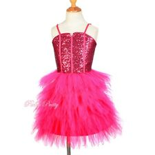 Sequin Tiered Dress Hot Pink Wedding Flower Girl Bridesmaid Party Size 2-14y 305