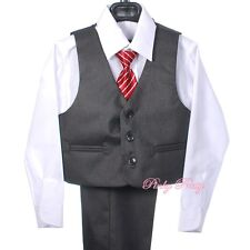 5 pcs Formal Tux Suit Waistcoat Wedding Page Boy Dinner Occasion Size 1-6y ST031