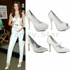WOMENS LADIES BRIDAL WEDDING HIGH HEEL SATIN WHITE PROM PARTY PUMPS SHOES SIZE