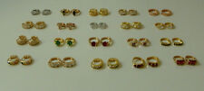 Gold Plated Earrings 9k Womens Girls Gemstone Small Hoop Snap Closure ER-03