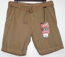 NWT Men's Plugg Belted Casual Shorts Size 30 32 38 Dark Camel  100% Cotton