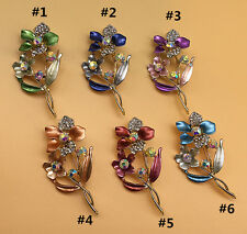 Gold Plated AB n Clear Crystal Double Flowers Enamel Brooch Pin Jewelry Gift