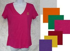 Ralph Lauren Womens Top Britta Cotton v-neck Solid Short Sleeve size S M L NEW