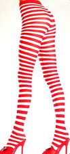 Be Wicked 517 Tights Mrs Santa Sexy Elf Pantyhose Striped One Size Red White