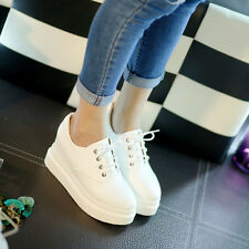 Womens Fashion Preppy Lace Up platform Hidden Wedge Casual Athletic Sneakers