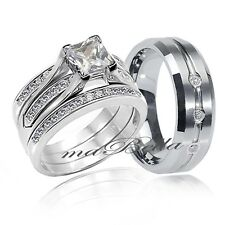 4 Pc Hers Sterling Silver His Tungsten AAA CZ Wedding Engagement Ring Band Set