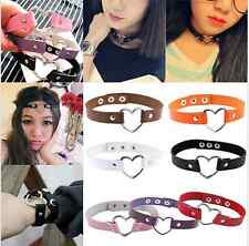 Women Punk Style Goth Rivet Heart Ring Leather Girl Collar Choker Necklace New