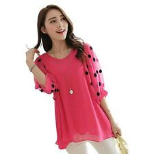 Summer Loose Bat Sleeve Chiffon Blouse Women's Tops Office Lady Polka Clothes