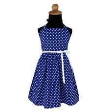 Hemet Vintage Inspired Blue Polka Dot Girl's toddler Dress white ribbon