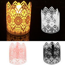 6pcs Flower Laser Cut LED Tea Light Candle Holders Lampshade Wedding Table Decor