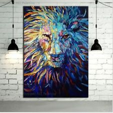 """Hand Painted Canvas Oil Painting Abstract Lion Wall Art Paintings Decor 24X36"""""""