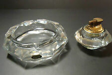 POST HOUSE JAPAN HANDCUT CRYSTAL TABLETOP ASHTRAY AND LIGHTER Vintage