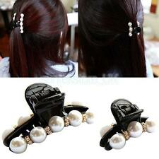 Beautiful Women Elegant Butterfly Pearl Hair Clamp Claw Design Accessory