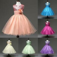 Kids Pageant Wedding Birthday Party Princess Dress Bridesmaid Girls Tutu Dress