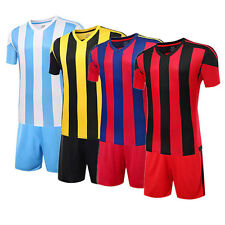 Men Kids Soccer Football Stripes Jersey Short Sleeve Shirts & Shorts Uniforms