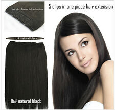 5 clips in one piece hair extension clip-in brazilian Remy human Hair Extensions