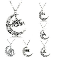 Moon Charm Necklace Pendant Family Member Gift Letter Wife Mother Sweet Choker