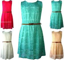 Girls Floral Lace Retro Skater Dress With Belt Age Size 7 8 9 10 11 12 13 Years