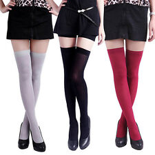 Women's Creative Pure Color Opaque Sexy Thigh High Stockings Over The Knee Socks