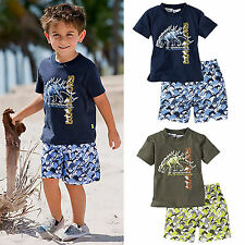 Baby Kids Boys Casual Dinosaur Printed T-Shirts Shorts Pants Outfit Set 1-6Years