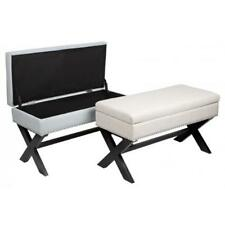Skye Bench Storage Ottoman Foot Stool Silver Studs Brown Cross Legs Stunning