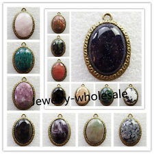 3Pcs Uncommon Bronze Inlay Mixed Gemstone Oval Pendant Bead NF013