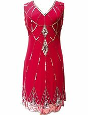 Ladies Gatsby RED Dress Tunic Top Evening 1920's Shift Dress Size 8 to 20