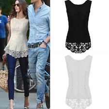 New Womens Ladies Sleeveless Embroidery Lace Tops Chiffon Shirt Blouse Size 6-16