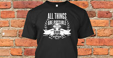 All Things are Possible w/ God Christian T-shirt cross banner clothing