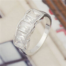 Classic 14K White Gold Filled crystal Crystal Womens Band Ring,Size 6,7