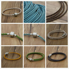 fit European charm beads 3mm Braided Genuine Leather Cord Necklace/Bracelet &&&