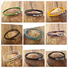 stainless steel 3mm Braided Genuine Leather Cord Necklace/Bracelet Lobster