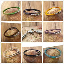 stainless steel 3mm Braided Genuine Leather Cord Necklace/Bracelet Lobster &&
