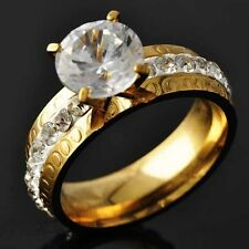 fashion Womens Yellow Gold Filled Clear CZ Band Ring jewelry SZ 6 7 8 9