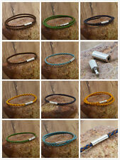 sell stainless steel 3mm Braided Genuine Leather Cord Necklace/Bracelet &&