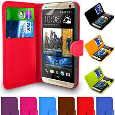 Leather Pu Wallet Flip Book Case Cover For HTC Various Phones + Tempered Glass