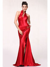 Halter Evening Dress Plunging Neckline Bridesmaid Formal Satin Homecoming XS~3XL