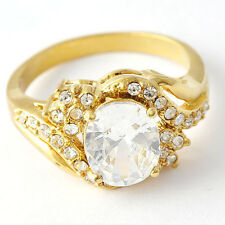 Authentic Promise Clear Crystal Yellow Gold Filled vintage Band Ring Size 9 10
