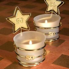Set of 6 Gold Star 50th Anniversary White Glass Tea Light Candle Holder Favours