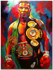 Mike Tyson Boxer Boxing Hand Painted Abstract Canvas Oil Painting Wall Art 36in