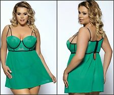 New Plus Size Underwired Padded Bra Lace Green Black Babydoll G-string Sz m-7xl