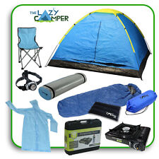 CAMPING SET 4 MAN DOME TENT KIT Sleeping Bag Foam Mat GAS STOVE Festival Hiking