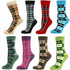 Womens Ladies Girls Tartan Checked Mid Calf Ankle Crew Short Plaid Socks New Lot
