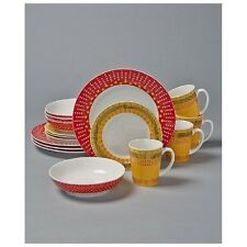 16 Pc Colorful Stripes And Dots Dinnerware Dinner Plates Salad Plates Bowls Mugs