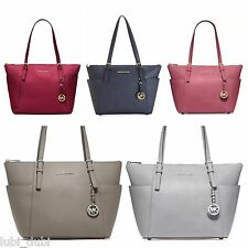 NWT MICHAEL Michael Kors Jet Set East West Top Zip Tote Saffiano Leather $248