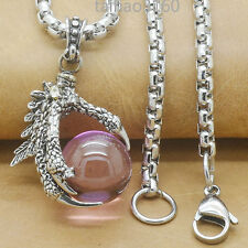 """Dragon Claw Purple Agate Stainless Steel Pendant Chain Necklace 18""""-32"""" PD293"""