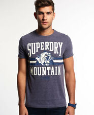 Superdry Mens Premium Lion Short Sleeve Crew T-Shirt Cotton Indigo Blue (#10132)