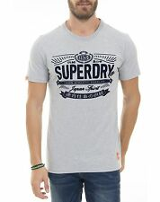 Superdry Mens Japan Spirit Retro Crew T-Shirt Cotton Grey Concrete Marl (#9582)